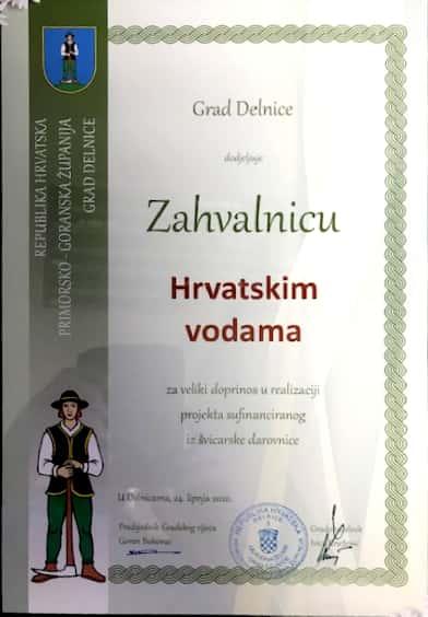 Hrvatske vode dobile priznanje za veliki doprinos u projektu vodoopskrbe u Delnicama